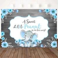 mocsicka baby shower wood backdrop sweet little elephant blue flowers newborn photography props child birthday custom background