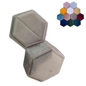 Velvet Single Ring Box Hexagon Valentine's Day Ring Box with Detachable Lid