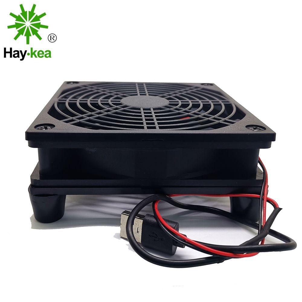Router Cooling Fan DIY PC Cooler TV Box Wireless Silent Quiet DC 5V USB power 120mm fan 120x25mm 12CM W/Screws Protective net