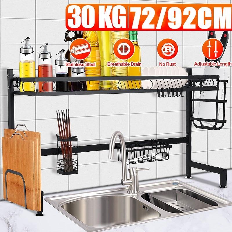 الفولاذ المقاوم للصدأ رف لتجفيف الأطباق فوق بالوعة المطبخ تخزين الرف مكافحة سطح الفضاء التوقف حامل أدوات المائدة تجفيف المنظم