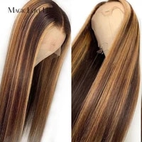 magic love 13x6 ombre brown honey blonde wigs straight lace front wig brazilian lace front human hair wigs for black women