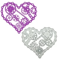 mechanical heart pattern cutting dies scrapbooking diy clipart decorating paper cutter die mold steampunk gear metal stencil