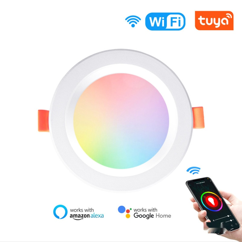 LED Downlight WiFi Smart APP Dimming Round Spot Light Embedded 7W 9W RGB Color Changing Warm Cool light Work with Alexa Google