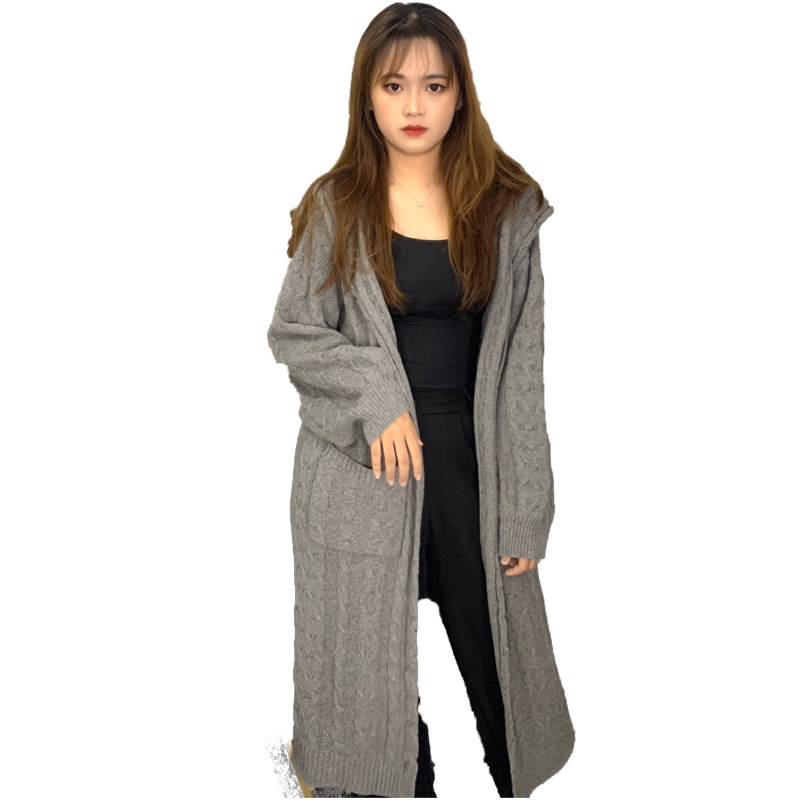 Women Cardigan Solid Long Hooded Jacket Women Sweater 2020 Autumn Winter Clothes Female Coat Casual Knitted Long Sweaters JS0005 enlarge