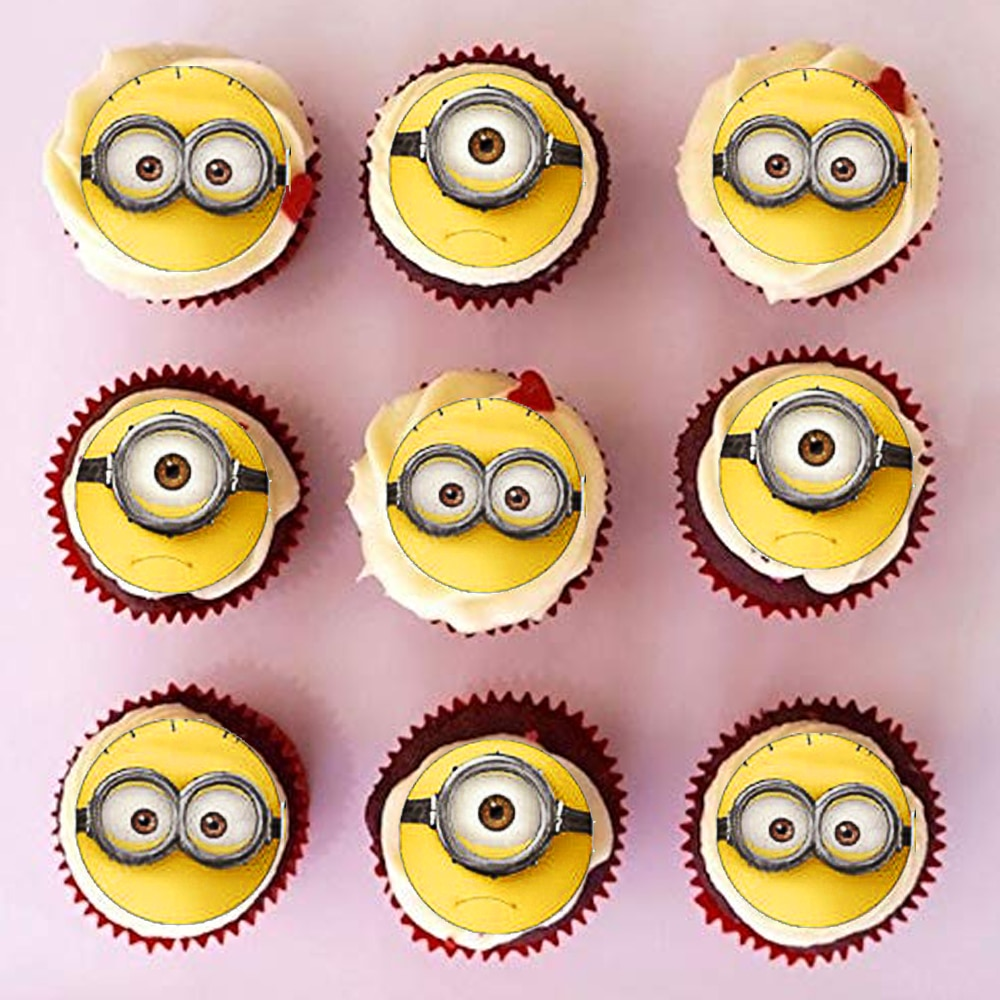 35 unids/lote lindos minions oblea papel cupcake topper fiesta de cumpleaños minions festa topper para tarta de feliz cumpleaños herramientas de Decoración de Pastel