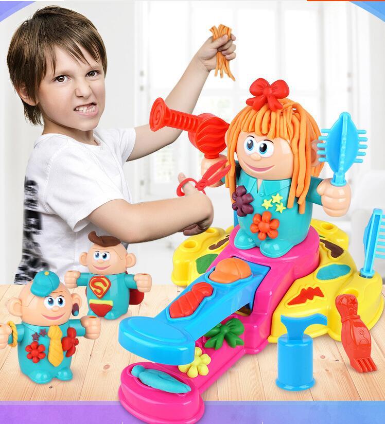 Peluquería Barber es clay niños play-doh molde DIY conjunto juguetes de corte de pelo y cabello juguetes de exprimir