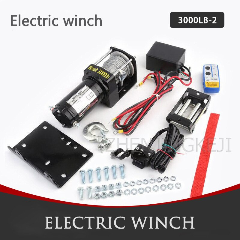 Portable Vehicle-mounted Electric Winch Wire Rope Winch 3000 Pounds Mud Marsh Anchor Rescue Beach Stranded Outdoor Lifting Tools