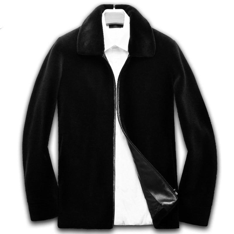 Abrigo de piel auténtica para hombre, chaqueta de lana para otoño e invierno, Chaqueta corta para hombre, abrigo Erkek Mont 8836 KJ849
