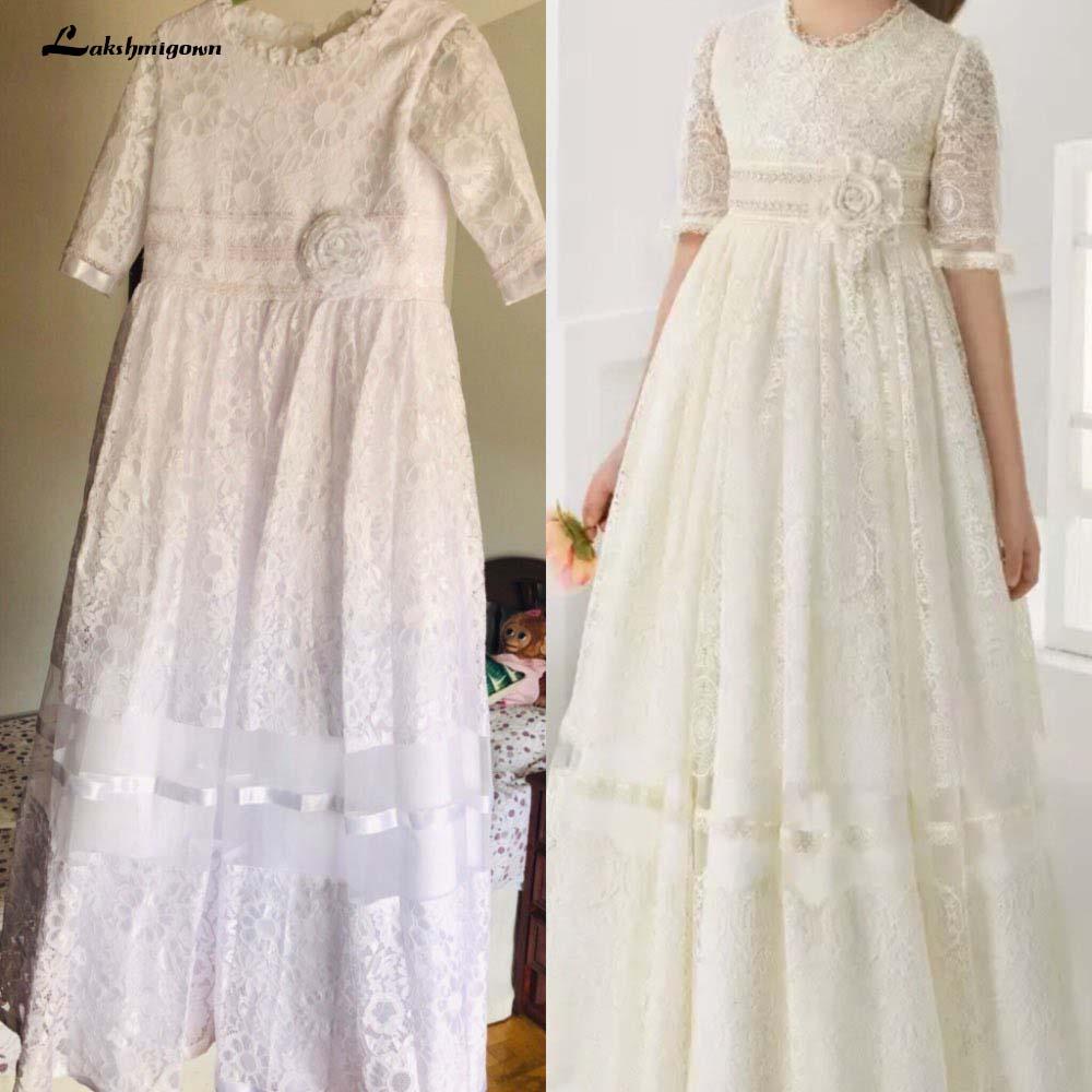 Vestidos de niña de flores de encaje para la boda vestidos de primera comunión media manga Empire Pageant vestidos de comunión fille daminha