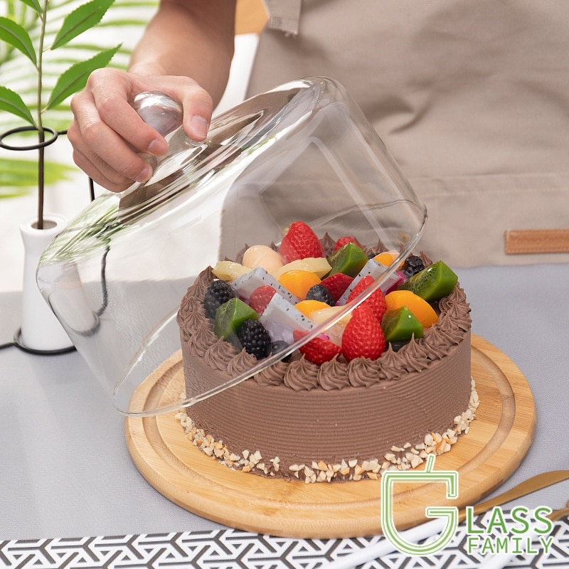 GF زجاج قبة مع قاعدة خشبية كعكة الوقوف ، طبق تقديم طبق كعكة طبق للسلطة ، حوامل كيك الزفاف للحلوى الجبن الحلوى