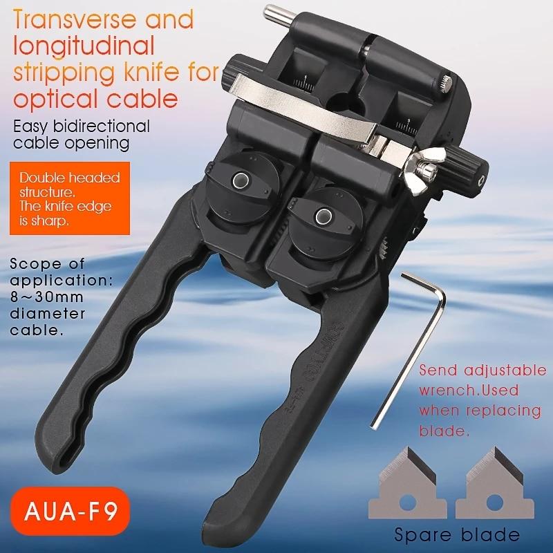 Free Shipping AUA-F9 Optical Fiber Optic Stripper 8-30MM Longitudinal Cable Jacket Slitter Cable Sheath Opening Cutter