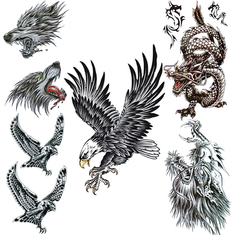Tatuaje temporal falso águila negra para hombres mujeres León tatuajes de lobo dragones realistas arte corporal brazo manos grifo tatuajes a prueba de agua
