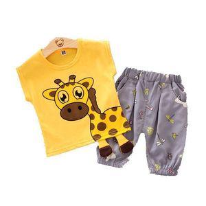 Baby Boys Girls Clothes Set Summer Cartoon Giraffe Kids Clothes Costume Children Clothing T-shirt + Shorts Sport Suit Tracksuit