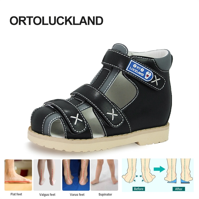 Ortoluckland Toddler Boy Sandles Girls Children Orthopedic Black School Shoes Tiptoes Barefoot Arch
