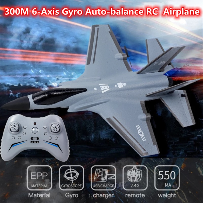 Automatic Balance Six-Axis Gyroscope RC Fighter 300M EPP Material 3-Speed Switch Cool Light 15Mins Flight Time RC Plane Model