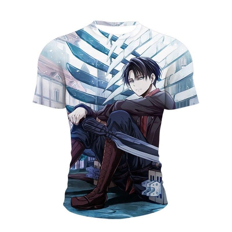 Camiseta de Anime Ataque Em Titan Para hombres, Ropa Masculina de Verano,...