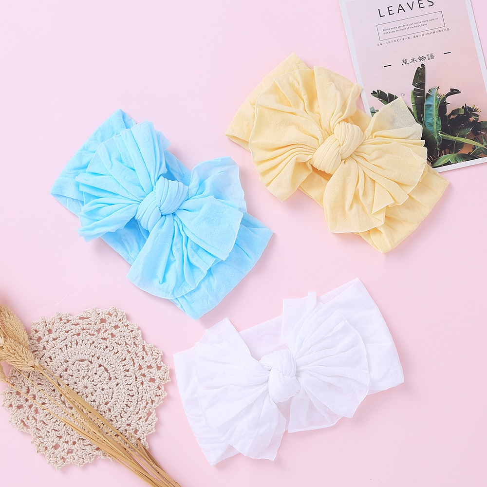12 pcs set fashion kids elastic hair bands rubber headbands soft fabric cartoon girls headwear children hair accessories Cute Baby Bows Headbands Soft Nylon Elastic Hair Bands For Children Turban Baby Girl Hair Accessories Kids Headwear Hairbands