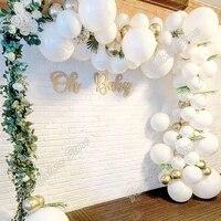 white wedding kids birthday party silver background decor baby shower golden holiday dinner decoration balloon garland arch kits
