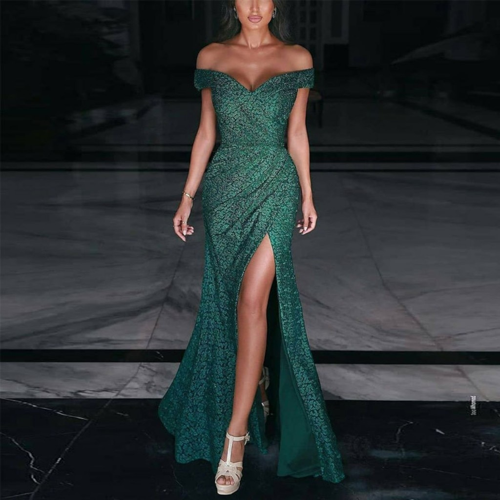 فساتين سهرة حورية البحر الخضراء الداكنة قبالة الكتف قصيرة الأكمام عالية انقسام فستان حفلات سيدة رسمية YSAN1158