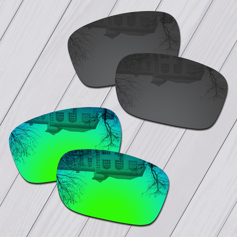 2 pares de lentes de repuesto polarizadas en color negro y verde esmeralda E.O.S para gafas de sol Oakley Silver F OO9246