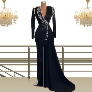 Pearl Gowns Long Sleeve Evening Dresses for Women Formal Party Clothing