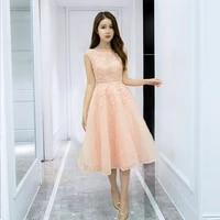 a line homecoming dresses for junior kayars middle length lace appliques round neck pink formal party dresses graduation gowns