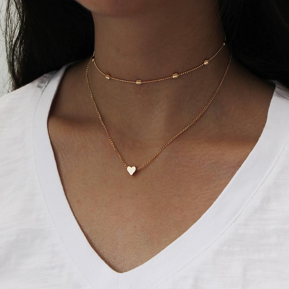 Collar sencillo y fresco con corazón de cobre para niña, Gargantilla multicapa...
