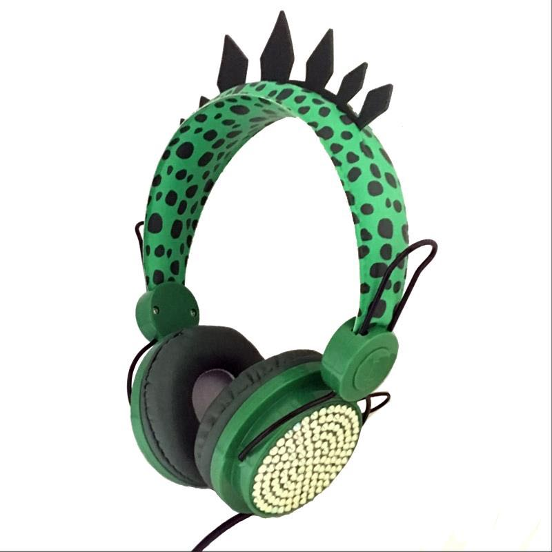 Cute Dinosaur 3.5mm Wired Headphone Microphone Cartoon Stereo Headset Subwoofer Laptop Accessories F