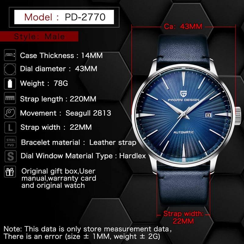PAGANI DESIGN Men's Fashion Casual Mechanical Watches Waterproof 50M Stainless Steel Brand Luxury Automatic Business Watch saat enlarge