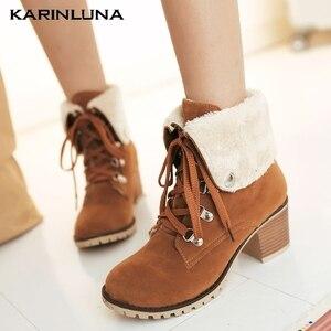 KarinLuna 2020 Dropship Women Boots Round Toe Platform Square Heels cross-tied Winter Women Shoes
