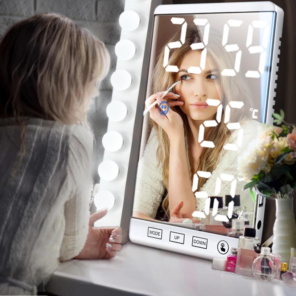 Reloj Digital de pared con botón táctil, pantalla de humedad y temperatura,...