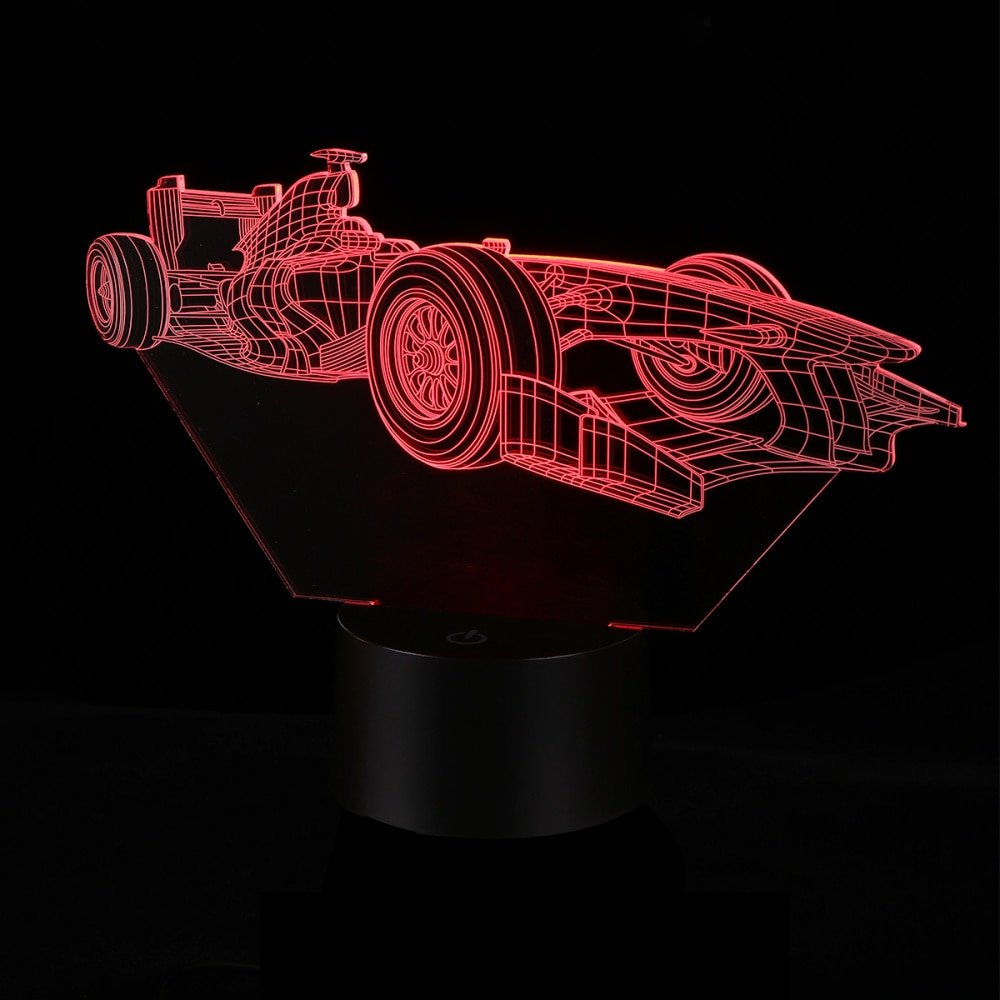 Auto Förmige Lampe Bunte 3D Lampe Acryl Lustige Durable Schöne LED USB Berührt Lampe (Dual-Use-Stil, ohne Batterie)