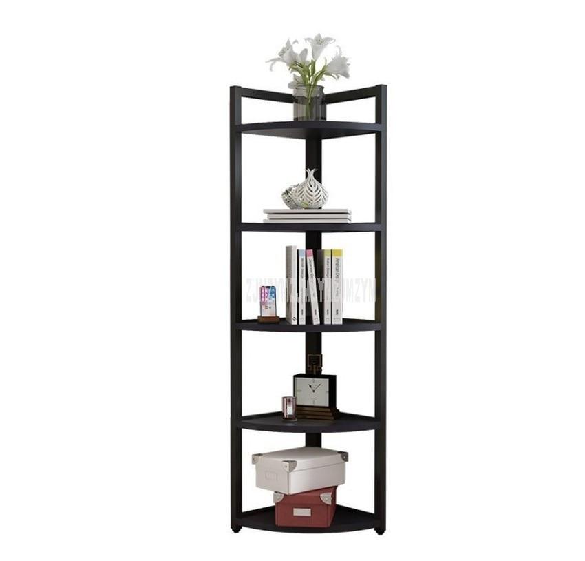 Estante de esquina de piso de 5 capas, estante de madera, marco de acero, florero de libros, organizador, estantería, sala de estar, dormitorio, estante decorativo de esquina