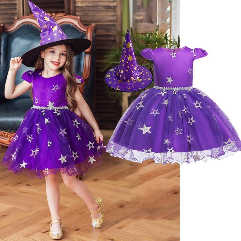 Платье ведьмы с шапкой из 2 предметов для костюмированной вечеринки на Хэллоуин для девочек, костюм ведьмы, детская одежда, новинка 2019