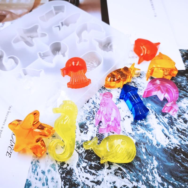 Diy jóias estilo marinho cristal uv epóxi molde criativo estrela do mar pinguim forma coleção moldes de silicone