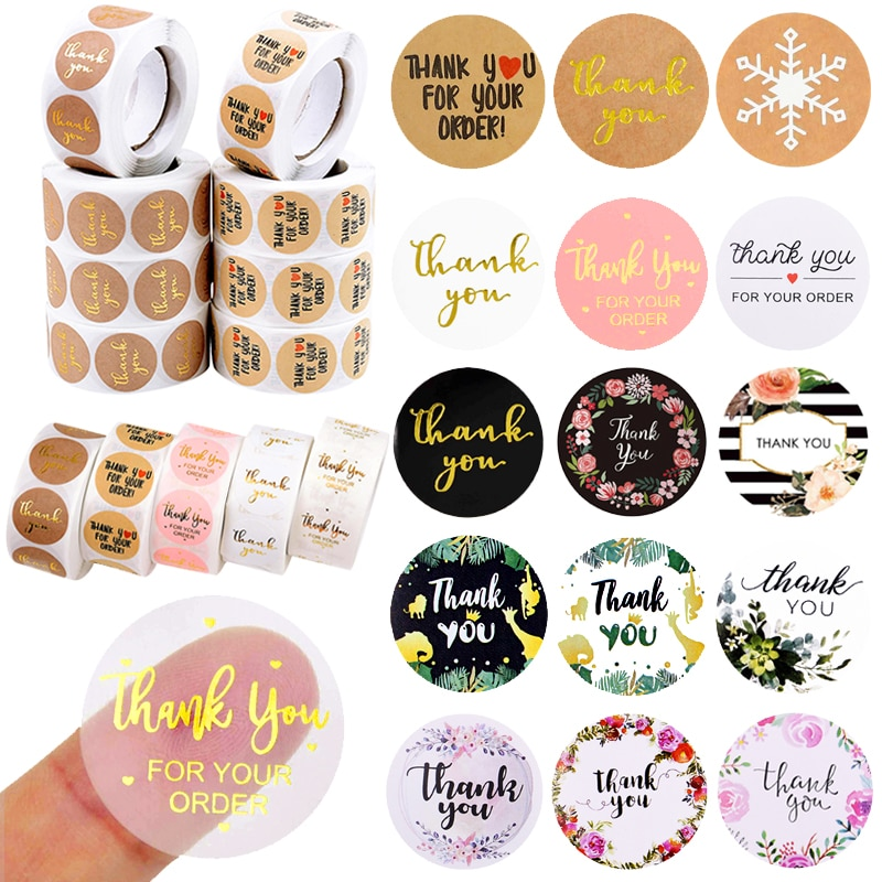 500pcs Thank You Stickers 1inch Round Gift Seal Label Sticker Diary Stationery Stickers For Wedding Party Decor Handmade Sticker