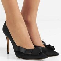 pumps high heels womens shoes silk thin heels sandals fashion bow pointed toe black single shoes slip on sandalias eleganti