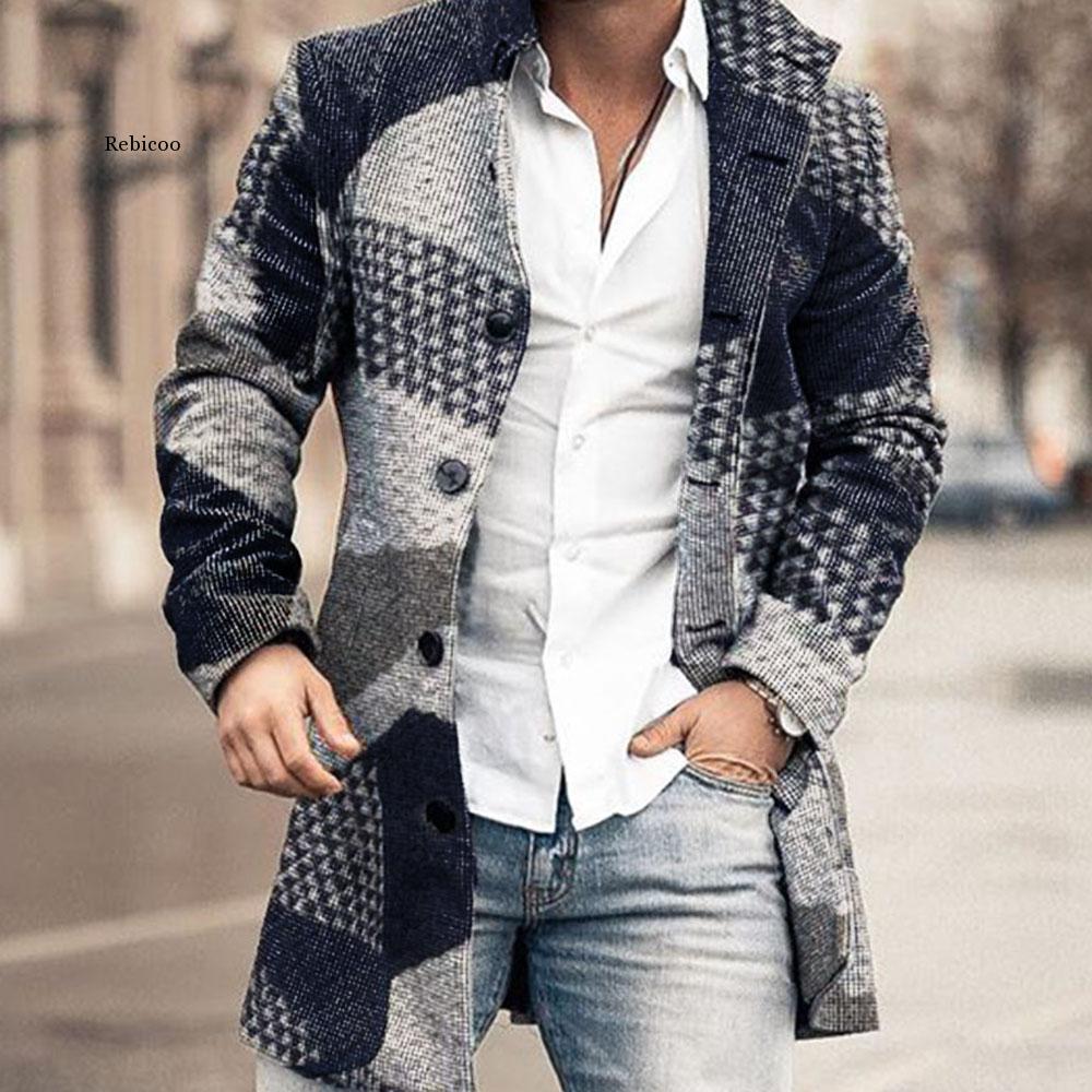 Пальто мужское длинное с геометрическим принтом, модная офисная шерстяная повседневная куртка оверсайз с воротником на пуговицах, Осень-зи...