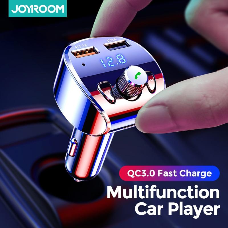 Автомобильное зарядное устройство Joyroom, FM-трансмиттер-модулятор, Bluetooth 5,0, комплект громкой связи, аудио mp3-плеер с QC3.0 двойным USB-адаптером