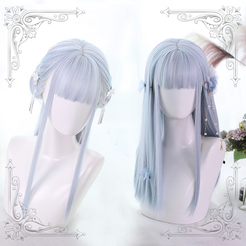 High Quality Lolita ColorfulRipple Color Air Bangs Female Loveliness Long Hair Wig Cosplay Party