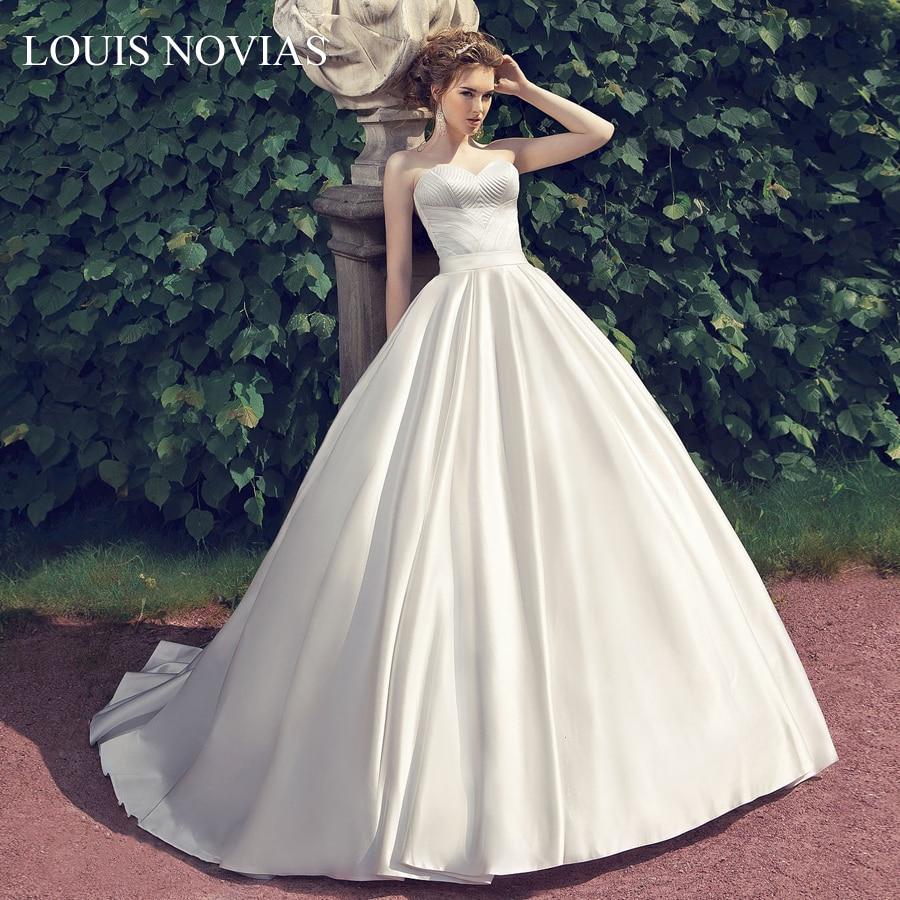 Louis Novias-فستان زفاف حريري عتيق ، تنورة بدون حمالات ، رسن ، تنورة على شكل قلب ، فستان زفاف فاخر ، مجموعة جديدة