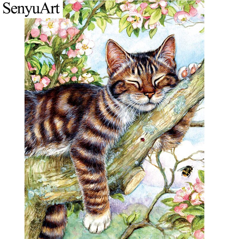 Cuadro de diamantes SenyuArt 5D, cuadro de bordado redondo completo, accesorios de arte mosaico, Kit de punto de cruz con gato Animal, decoración del hogar