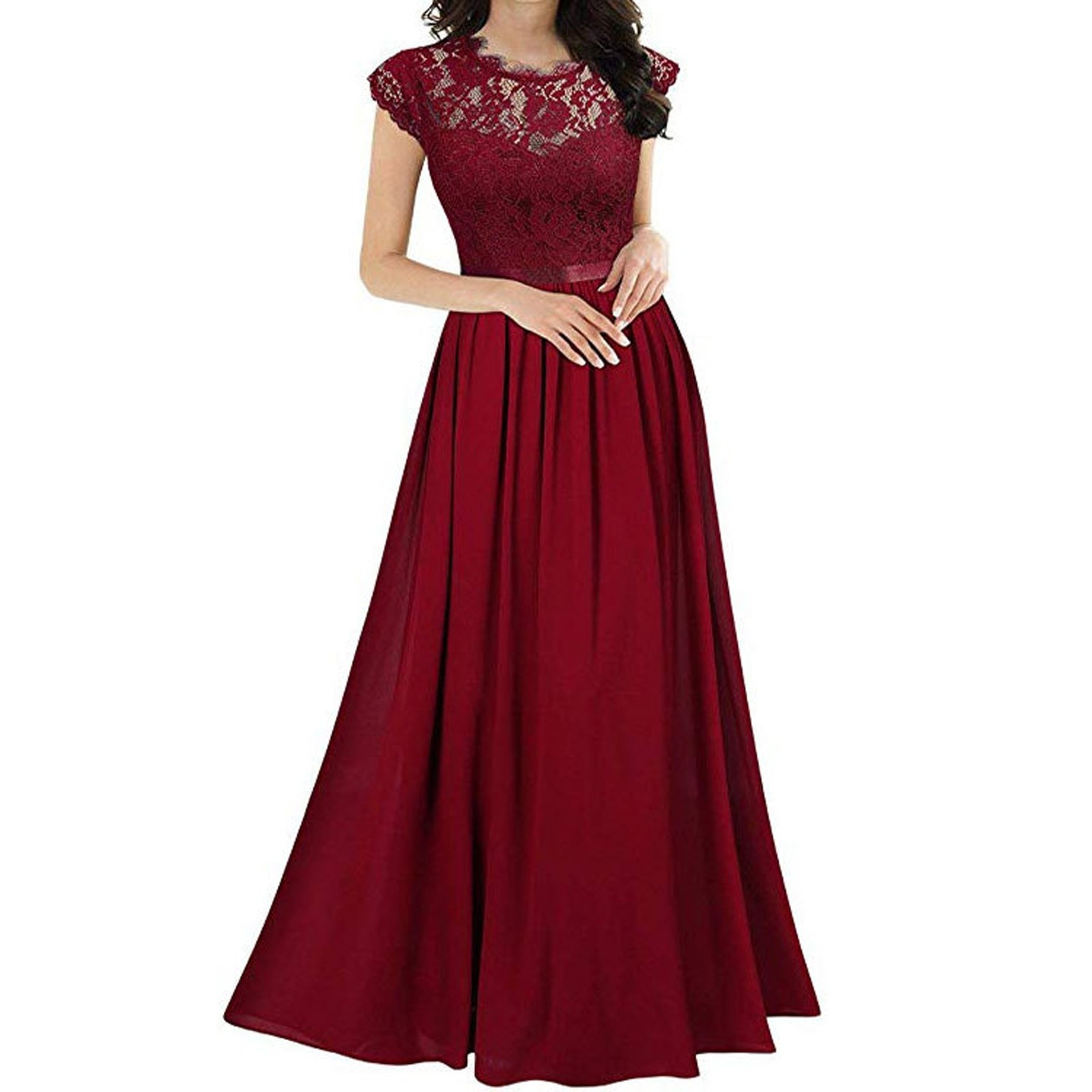 Women Plus Size Lace Dress Chiffon Stitching Lace Dress Casual Bridesmaids Evening Gowns Floor-Lengt