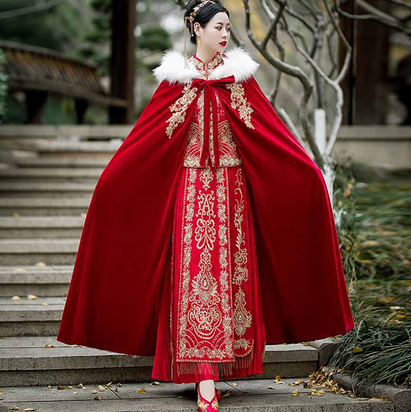 Red Velvet Cloak Women Chinese Vintage Autumn&Winter Hooded Cloak Female Halloween Cosplay Costume Hanfu Red Cloak For Women newly halloween female death dress terror skull role playing suit cloak stage costume for women te889