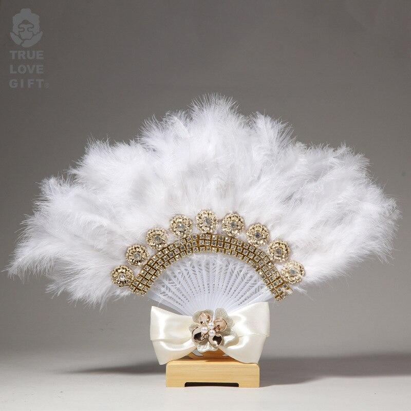 Abanico de mano personalizado Para Boda, abanico de plumas de encaje Para...