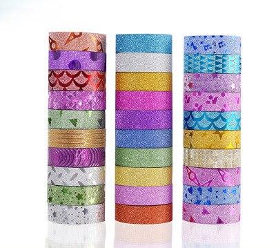 10 unids/set Washi Tape Set purpurina Color japonés papelería Scrapbooking cintas decorativas cinta adhesiva Kawai adhesiva Decorativa