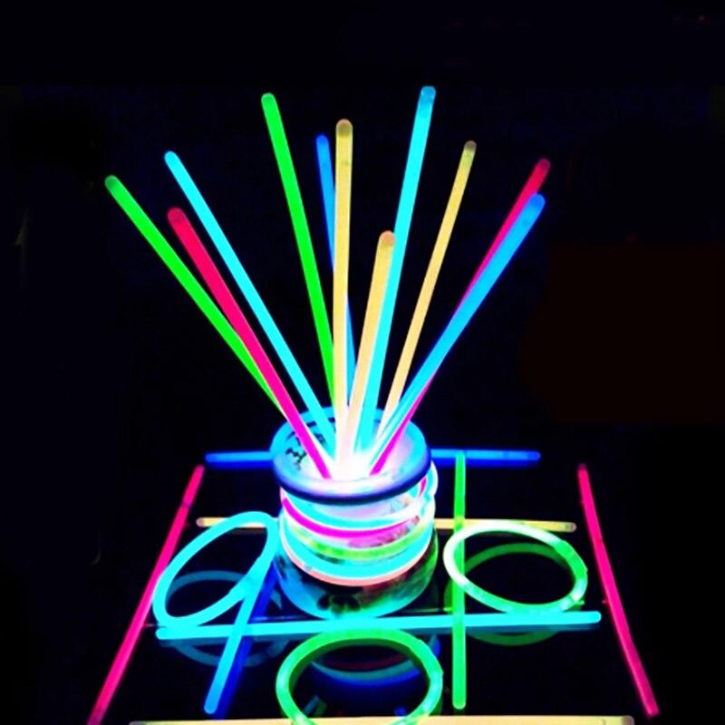 100Pcs Glow Stick Light Stick Necklace Bracelets Fluorescent For Event Festive Party Supplies Concert Decorations Party Tools