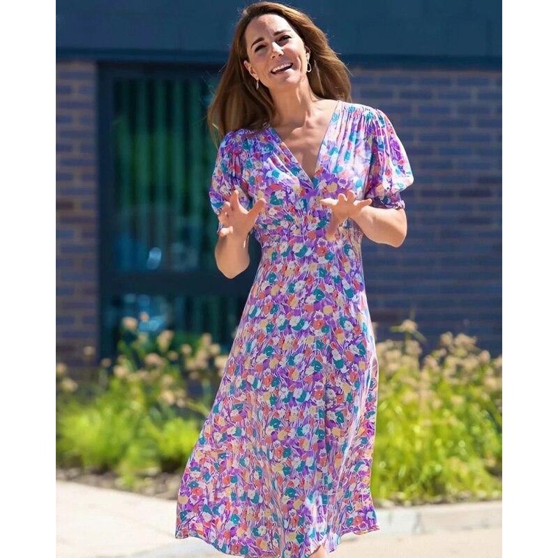 Vestido de princesa Kate Middleton 2020 vestido de mujer con cuello en V mangas cortas estampado vestidos elegantes vestido Casual NP1149C
