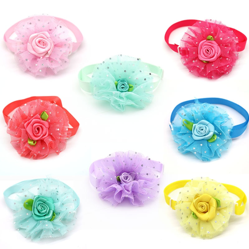 20/50 Pcs Pet Supplies Lace Rose Love Style Pet Dog Bow Ties Necktie Valentine's Day Holiday Dog Acc