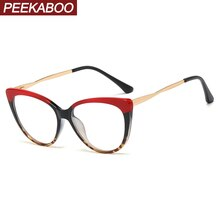 Peekaboo rot leopard retro cat eye brille rahmen für frauen halb metall damen optische gläser transparent mode zubehör